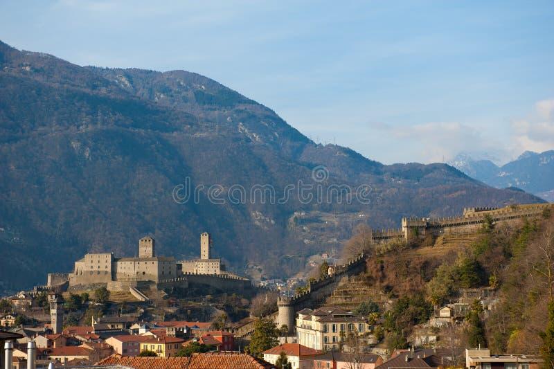 Kasteel in Bellinzona, Zwitserland royalty-vrije stock fotografie