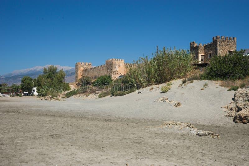 Kasteel bij Frangokastello-strand, Kreta, Griekenland stock fotografie