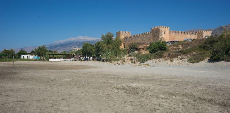 Kasteel bij Frangokastello-strand, Kreta, Griekenland royalty-vrije stock afbeeldingen