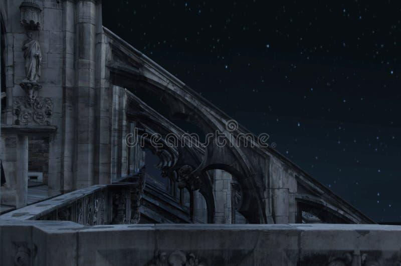 kasteel bij nacht stock afbeelding