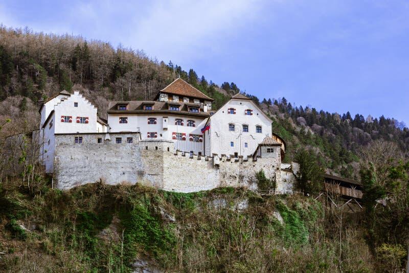 De Mening van het Kasteel van Vaduz stock foto's