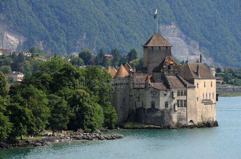 Kasteel Chillon op meer Leman dichtbij Montreux stock afbeelding