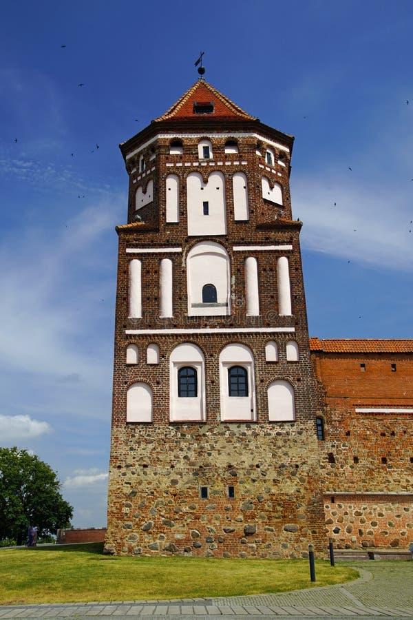 Kasteel in de stad van Mir, sinds het eind van de veertiende eeuw wordt gekend die stock afbeelding