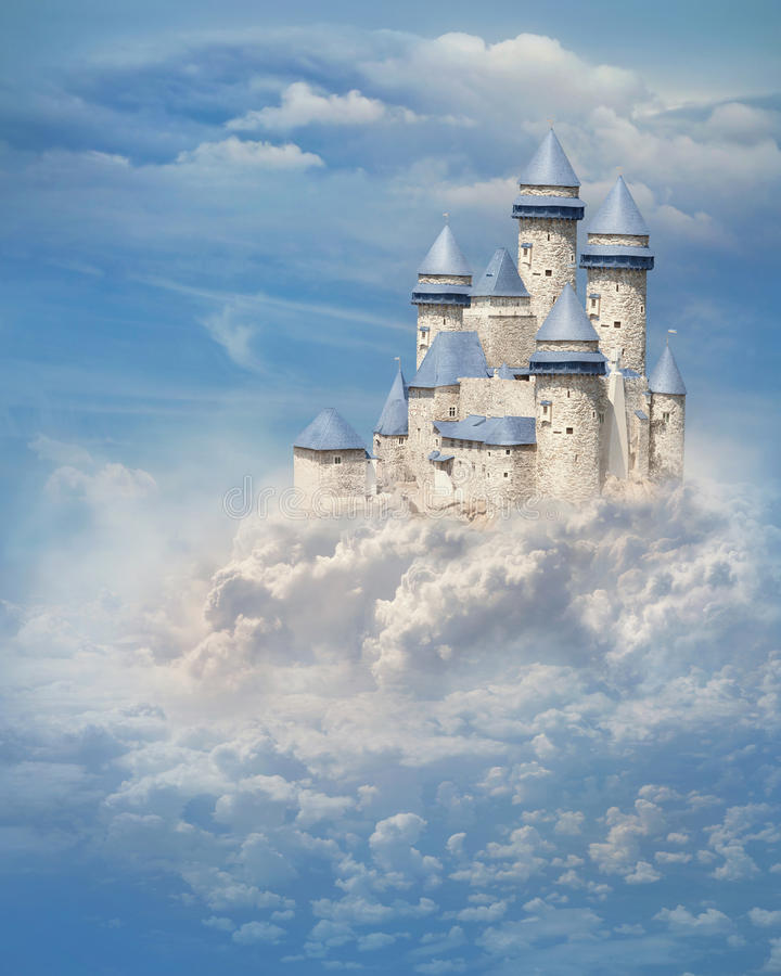 Kasteel in de wolken royalty-vrije stock foto