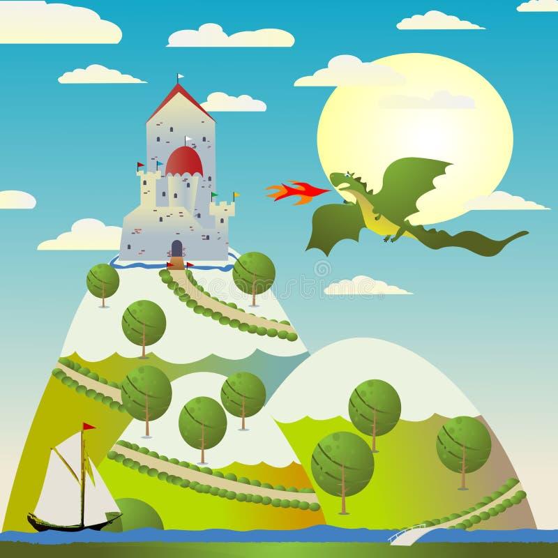 Kasteel en draak vector illustratie
