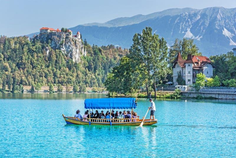 Kasteel en traditionele houten boot op Afgetapt Meer, Slovenië stock foto's