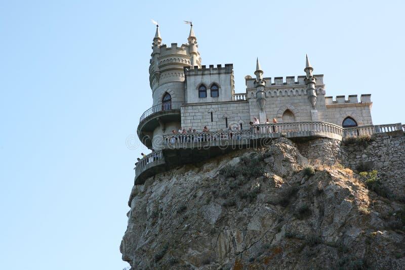 Kasteel geroepen Swallow's nest in de Krim de Zwarte Zee royalty-vrije stock foto