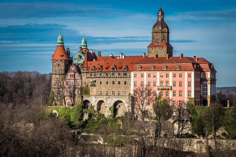 Kasteel Ksiaz in Walbrzych royalty-vrije stock afbeelding