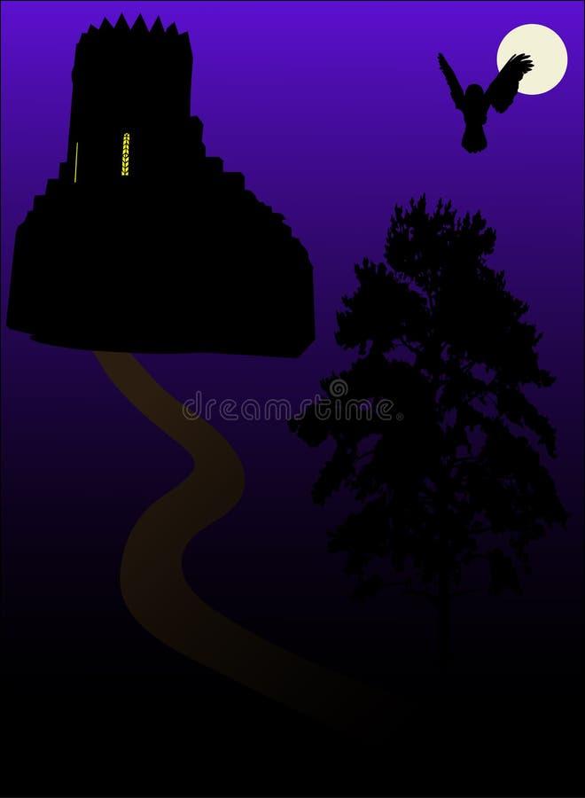 Kasteel, maan en vogel royalty-vrije illustratie