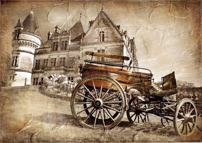 kasteel met oude carrige stock illustratie