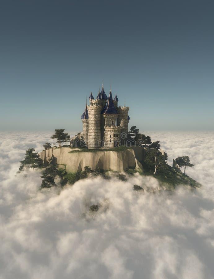 Kasteel op de berg royalty-vrije stock afbeelding