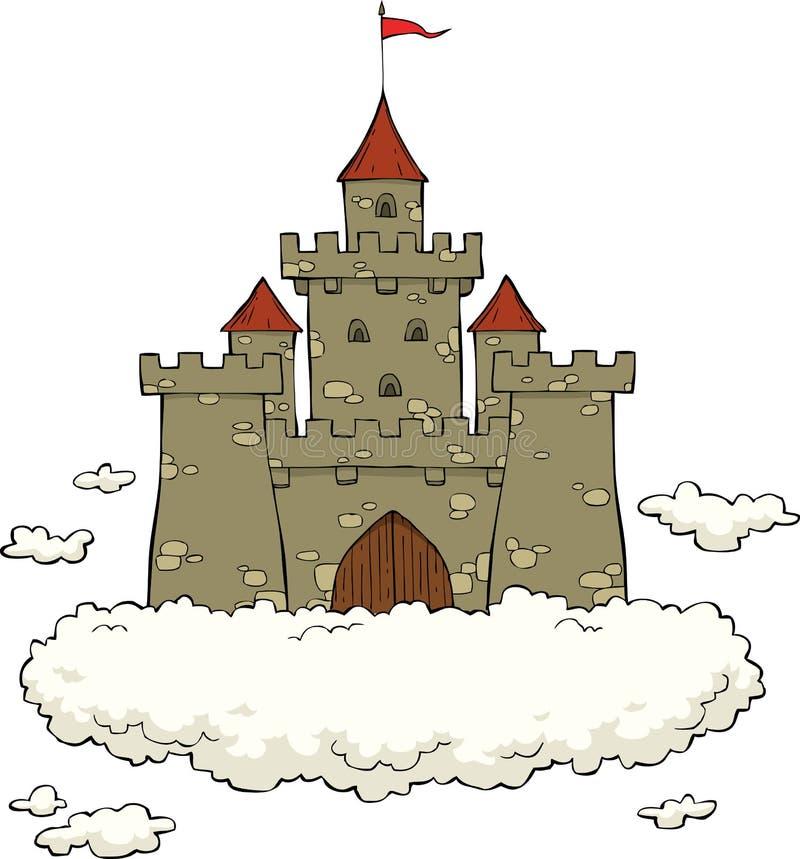 Kasteel op een wolk royalty-vrije illustratie