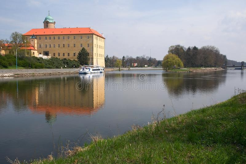 Kasteel Podebrady, Tsjechische Republiek stock afbeeldingen