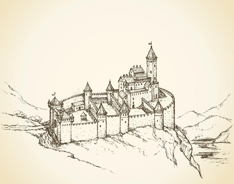 Kasteel Romaanse stijl Vector tekening stock illustratie