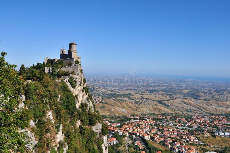 Kasteel in San Marino stock afbeeldingen
