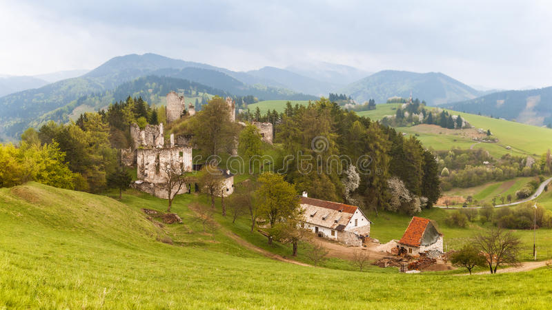 Kasteel Sklabina, Martin, Slowakije stock foto's