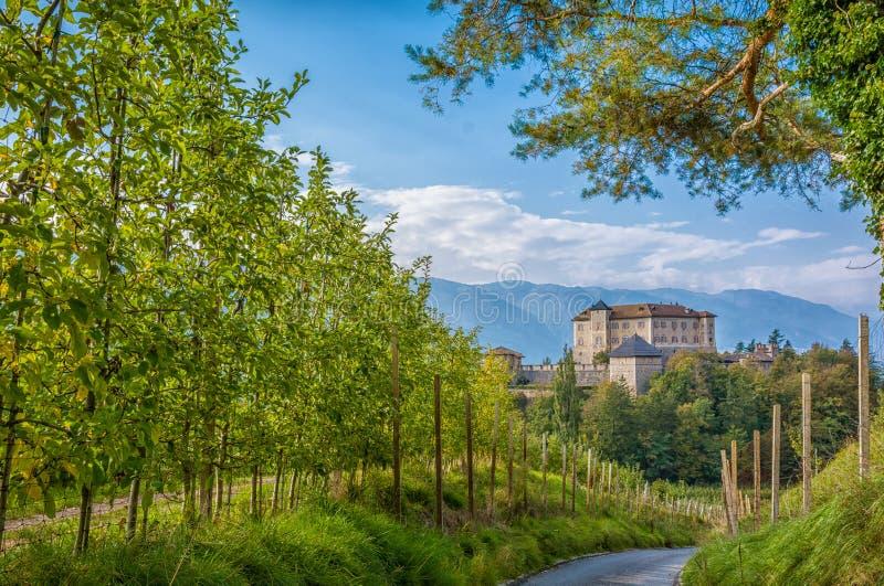 Kasteel Thun, Trentino alt-Adige Het kasteel wordt gevestigd in de commune van Ton in lager Val di Non, Trentino Alto Adige, Ital royalty-vrije stock afbeeldingen