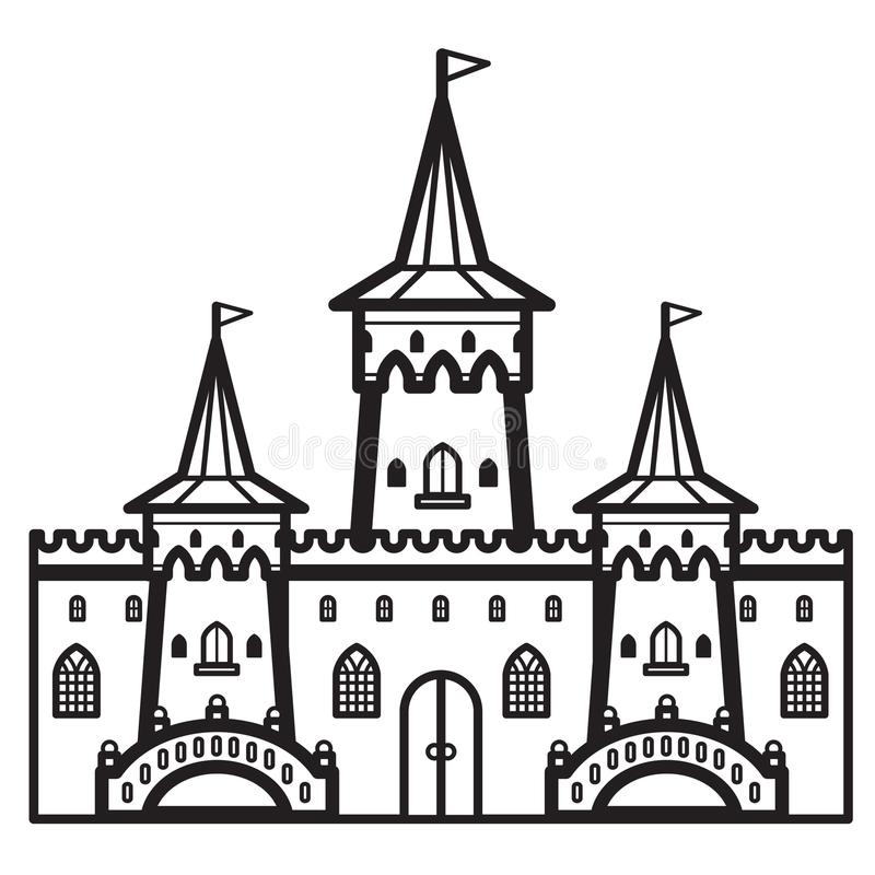 Kasteel Uitstekende Vector royalty-vrije stock afbeeldingen
