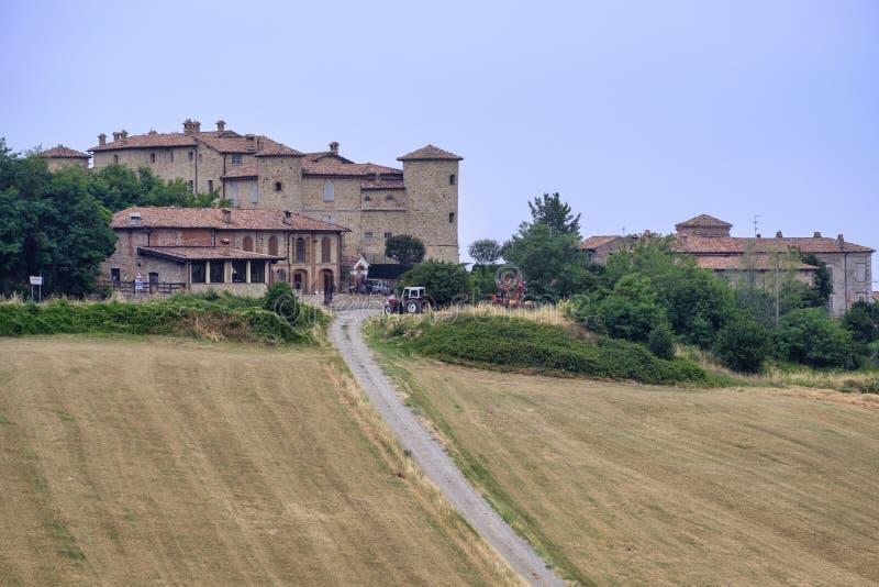 Kasteel in Val Tidone Piacenza, Italië stock foto's