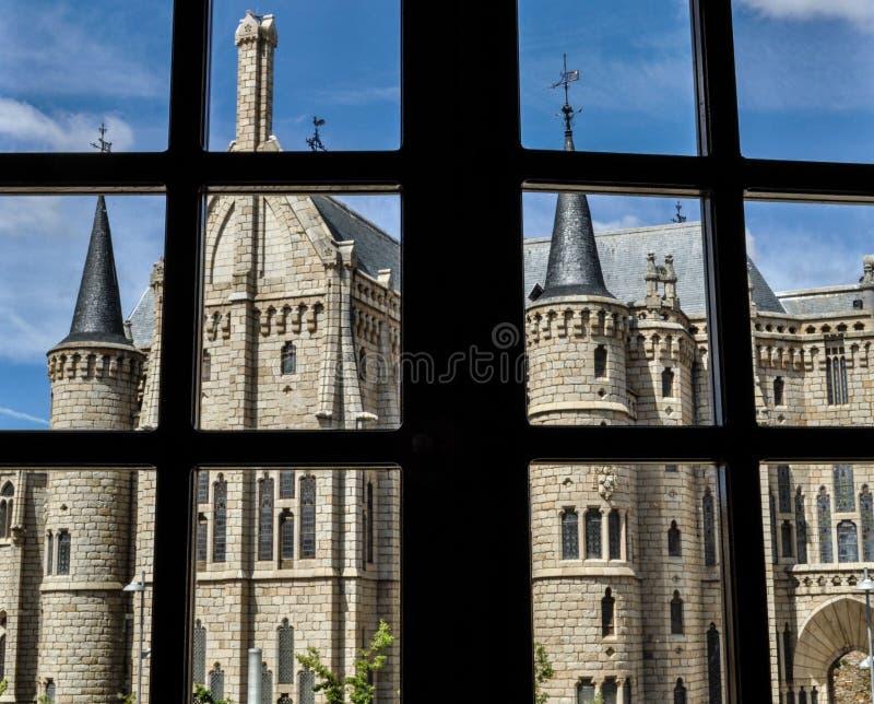 Kasteel van Astorga in Spanje stock afbeelding
