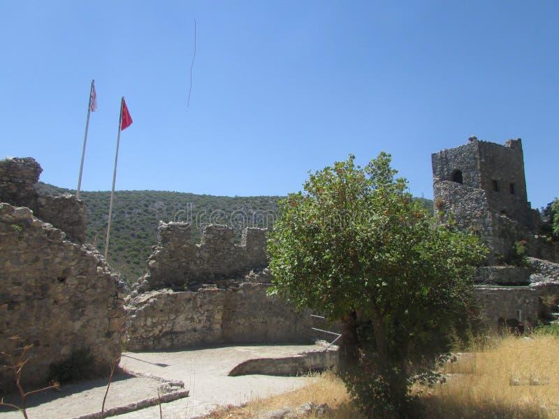 Kasteel van de Kruisvaarders, 13de eeuw, noordelijk Cyprus stock foto's
