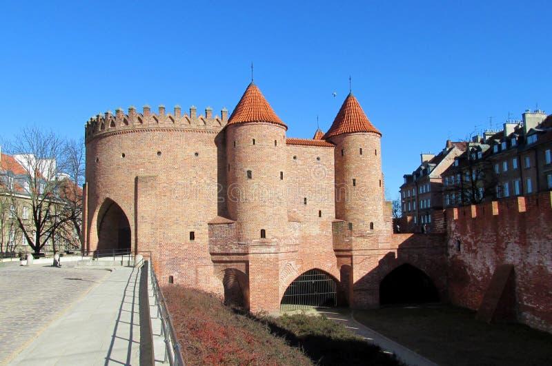 Kasteel van de Warsawa het oude stad, de Barbacane van Warshau royalty-vrije stock foto's