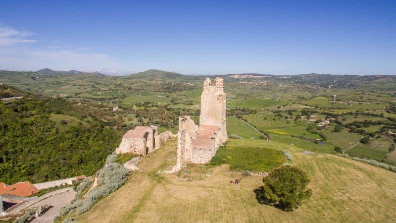 Kasteel van doria, chiaramonti, Sardische castel, Sassari stock afbeelding