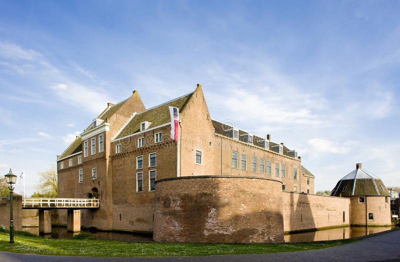 Kasteel van Woerden, Netherlands. Outdoor, outdoors, outside, exterior, exteriors, europe, western, holland, architecture, old, historic, historical, building stock photos