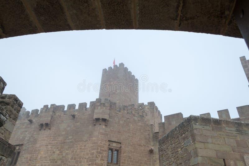 Kasteel van Xavier op een mistige dag (Spanje) stock foto