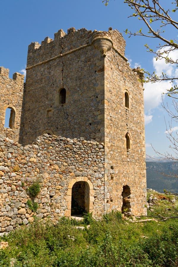 Kasteel van Zarnata in Mani, Griekenland stock afbeeldingen