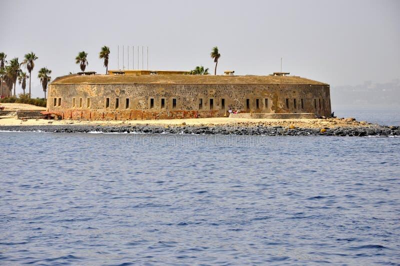 Kasteel, vestingwerk op goreeeiland Senegal, stock afbeelding