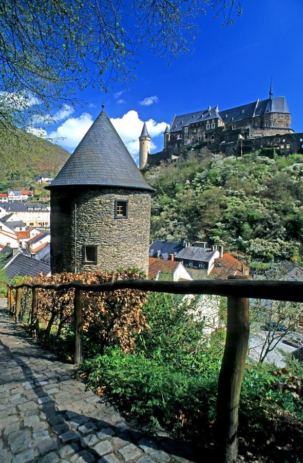 Kasteel Vianden, Luxemburg stock afbeelding