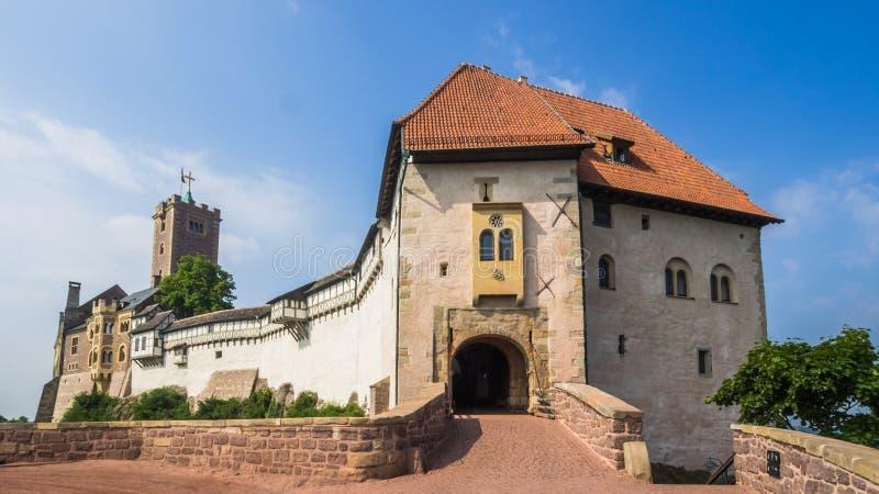 Kasteel Wartburg dichtbij aan stad Eisenach, Duitsland stock fotografie