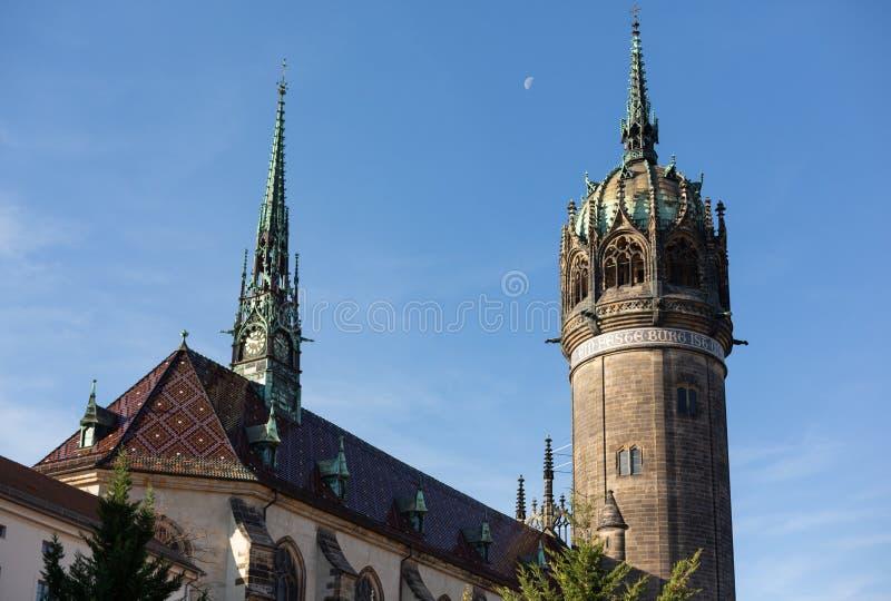 Kasteelkerk van Wittenberg op een Oktober-ochtend stock fotografie