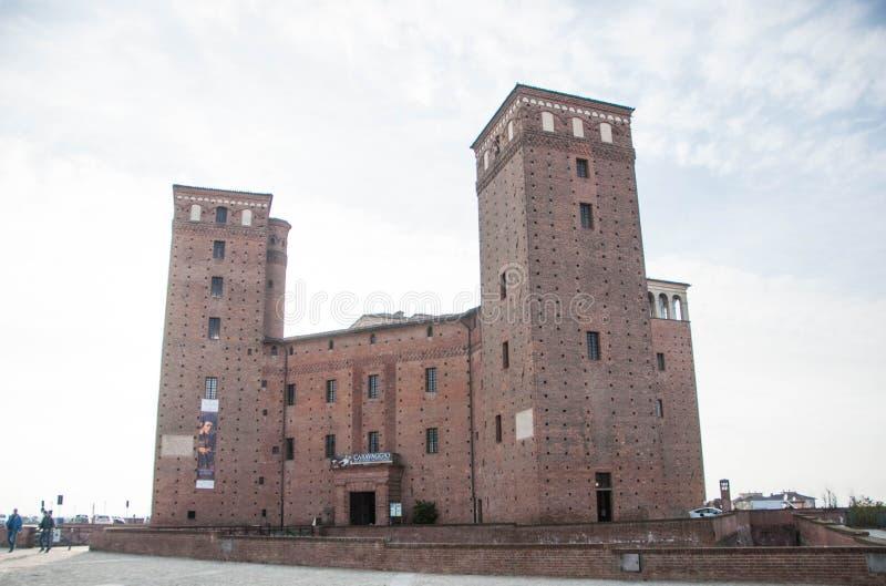 Kasteelprincipes van Acaja, Fossano, Piemonte - Italië stock foto