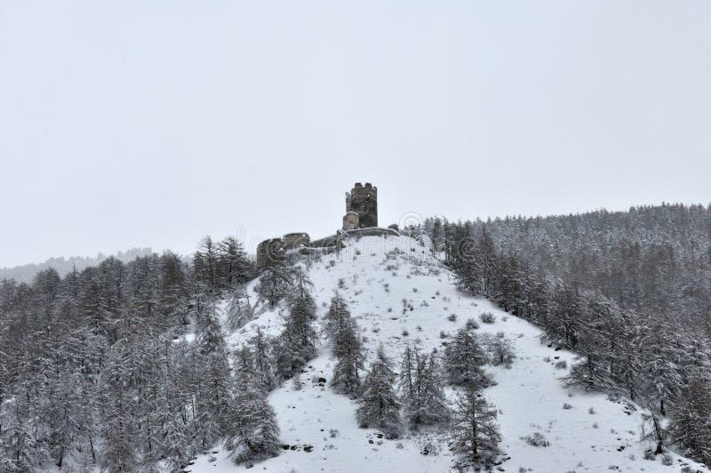Kasteelruïnes in de Winter royalty-vrije stock foto