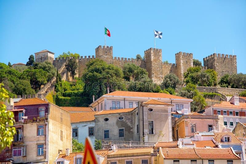Kasteelsao Jorge in Lissabon, Portugal royalty-vrije stock foto