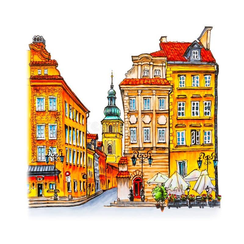 Kasteelvierkant in de ochtend, Warshau, Polen royalty-vrije illustratie