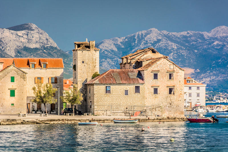 Kastel Stari town in Croatia. Waterfront view at town Kastel Stari, suburb of town Split, Croatia royalty free stock images
