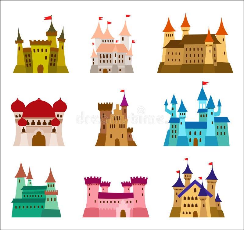 Kastelen en vestingen vlakke ontwerp vectorpictogrammen Reeks van illustraties van ruïnes, herenhuizen, paleizen, villa's en ande royalty-vrije illustratie