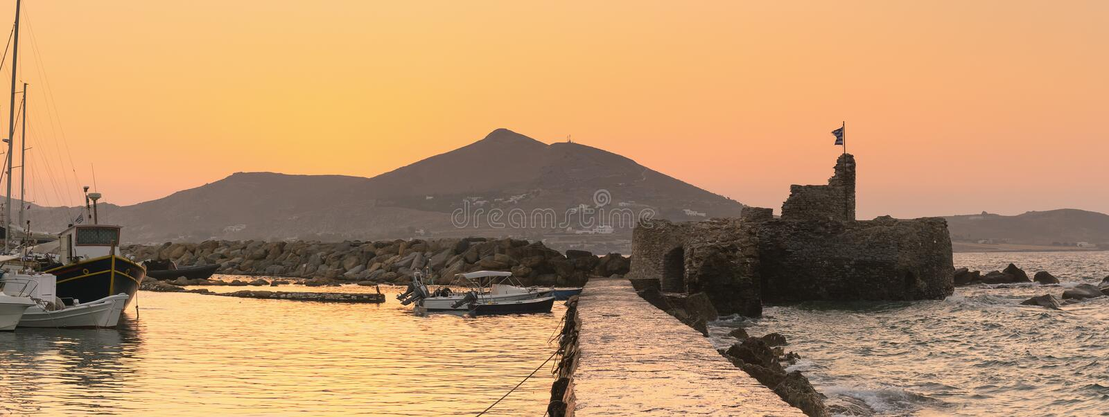 Kastelli castle at Paros island in Greece against the sunset. stock images