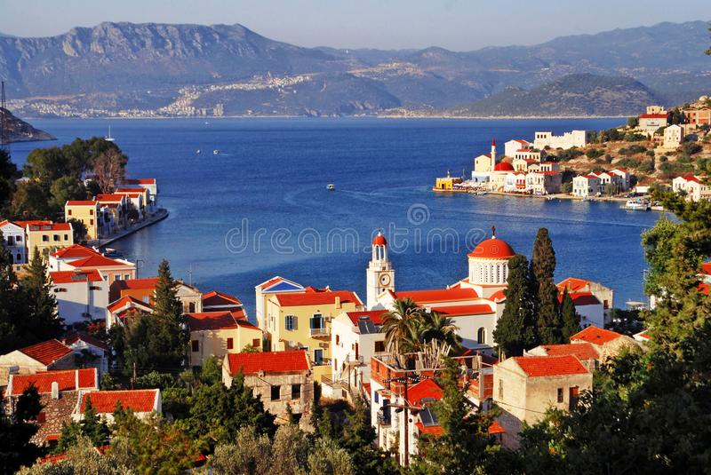 Kastellorizo town, Kastellorizo island, Dodecanese islands, Greece. View of the harbour of the town of Kastellorizo, Kastellorizo island, Dodecanese islands royalty free stock images