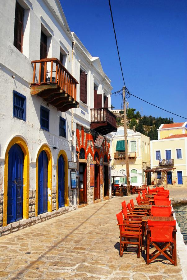 Kastellorizo town, Kastellorizo island, Dodecanese islands, Greece. Traditional houses by the harbour of the town of Kastellorizo, Kastellorizo island stock image