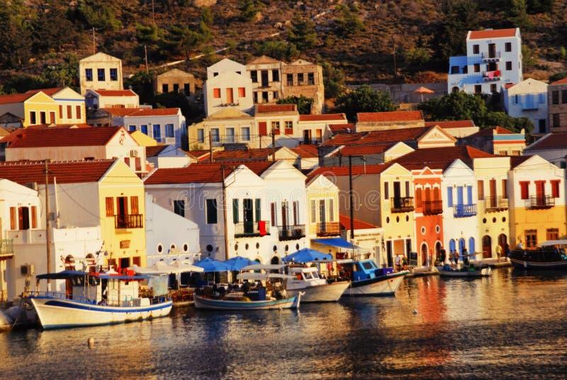 Kastellorizo town, Kastellorizo island, Dodecanese islands, Greece. View of the harbour of the town of Kastellorizo, Kastellorizo island, Dodecanese islands stock photos