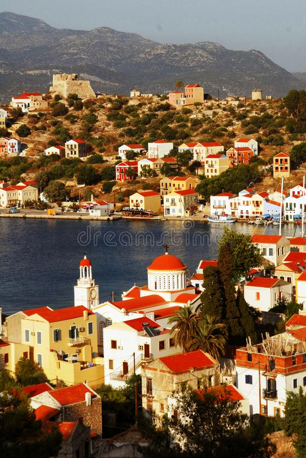 Kastellorizo town, Kastellorizo island, Dodecanese islands, Greece. View of the harbour of the town of Kastellorizo, Kastellorizo island, Dodecanese islands royalty free stock photography