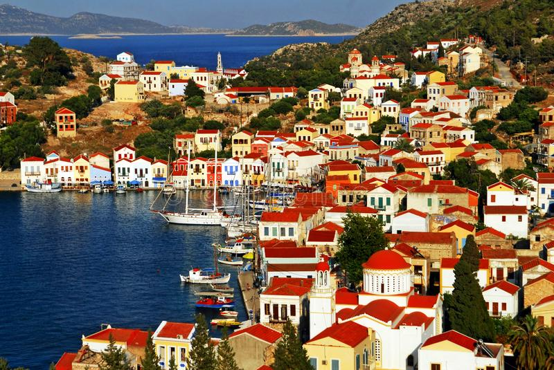 Kastellorizo town, Kastellorizo island, Dodecanese islands, Greece. View of the harbour of the town of Kastelorizo, Kastelorizo island, Dodecanese islands royalty free stock photo
