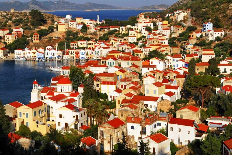 Kastellorizo town, Kastellorizo island, Dodecanese islands, Greece. View of the harbour of the town of Kastelorizo, Kastelorizo island, Dodecanese islands stock photo