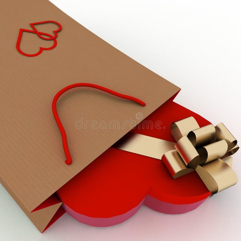 Kasten als Herzform mit einem Goldbogen in einer Tasche für ein Geschenk Das Konzept eines Geschenks mit Liebe lizenzfreie abbildung