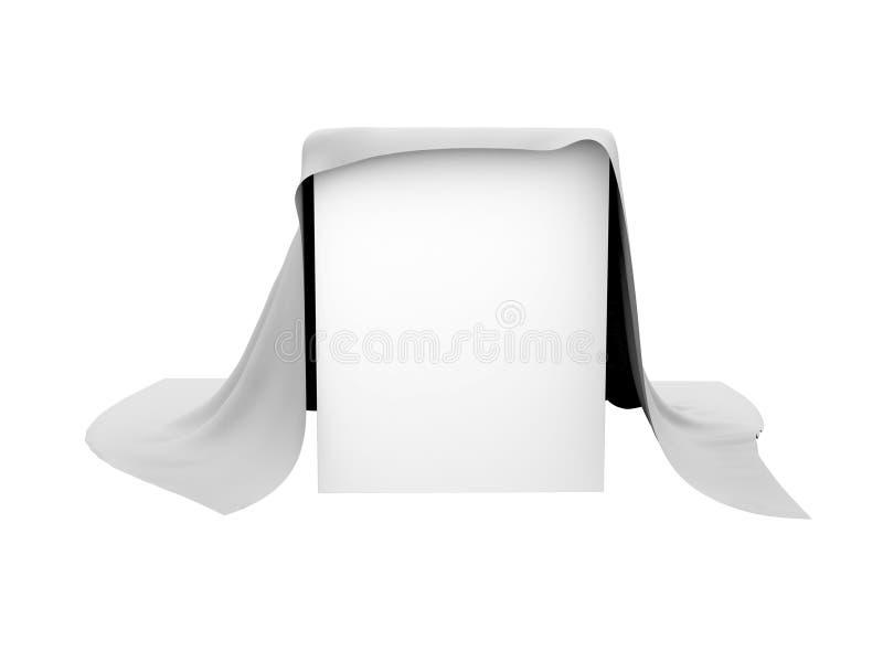 Kasten bedeckt mit einem weißen Stoff vektor abbildung