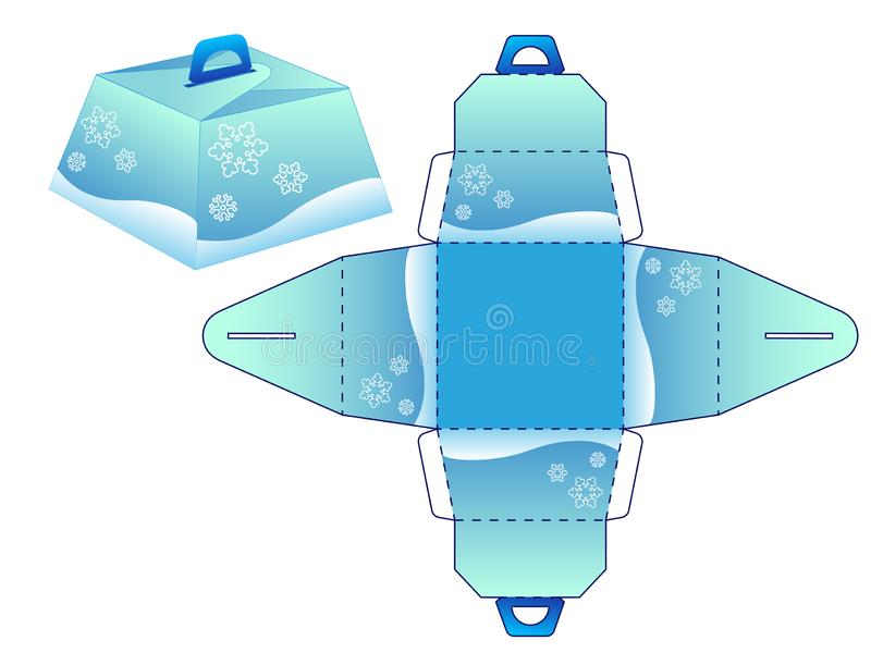 Kasten bonbonniere Winter Schablone für die Schaffung der Geschenkverpackung für die Winterurlaube - Weihnachten und neues Jahr stock abbildung